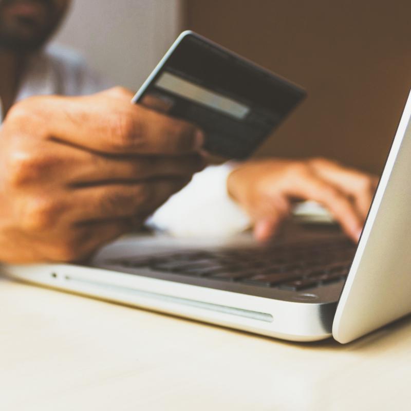 Online shopper paying via Shopify